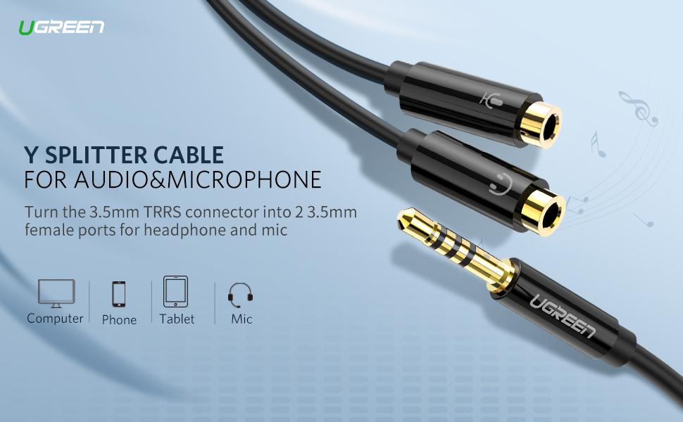 UGREEN Headset Adapter Audio Splitter 3.5mm Male to 2 Female (4 Pin ...