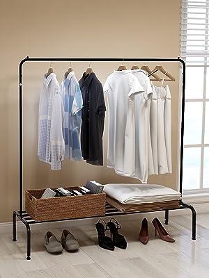 DUMEE Metal Garment Rack Heavy Duty Indoor Bedroom Clothing Coat Racks Hanger with Top Rod and Lower Storage Shelf Clothes Rack with 2-Tier Shelves Black Silver