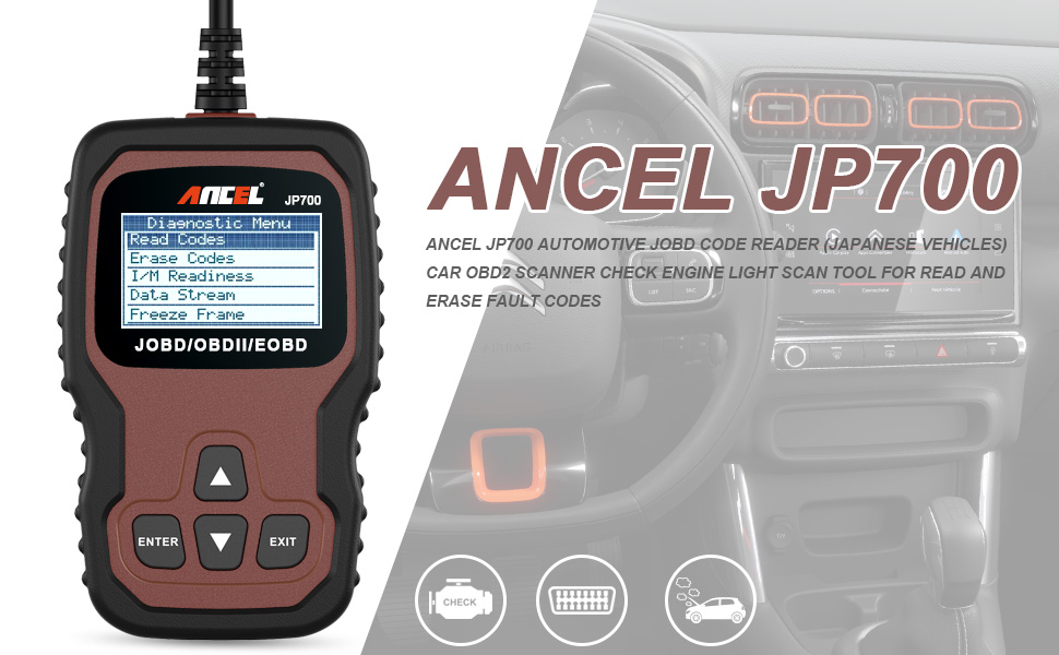 ANCEL JP700 Automotive JOBD Code Reader (Japanese Vehicles) Car OBD2  Scanner Check Engine Light Scan Tool for Read and Erase Fault Codes