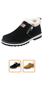 6a14b43dc57f9 Coolloog Men Women Winter Warm Ankle Snow Boots Fur Lined Waterproof ...