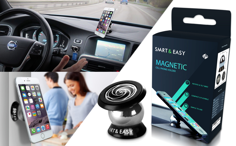 Magnetic Cell Phone Holder for Car -360° Rotation - Ultraslim with a Super  Strong Magnet for All Phone Sizes, GPS or Light Tablets - Fits in Any