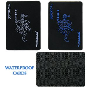 joyoldelf waterproof pvc poker playing cards deck of poker card with black backing in box