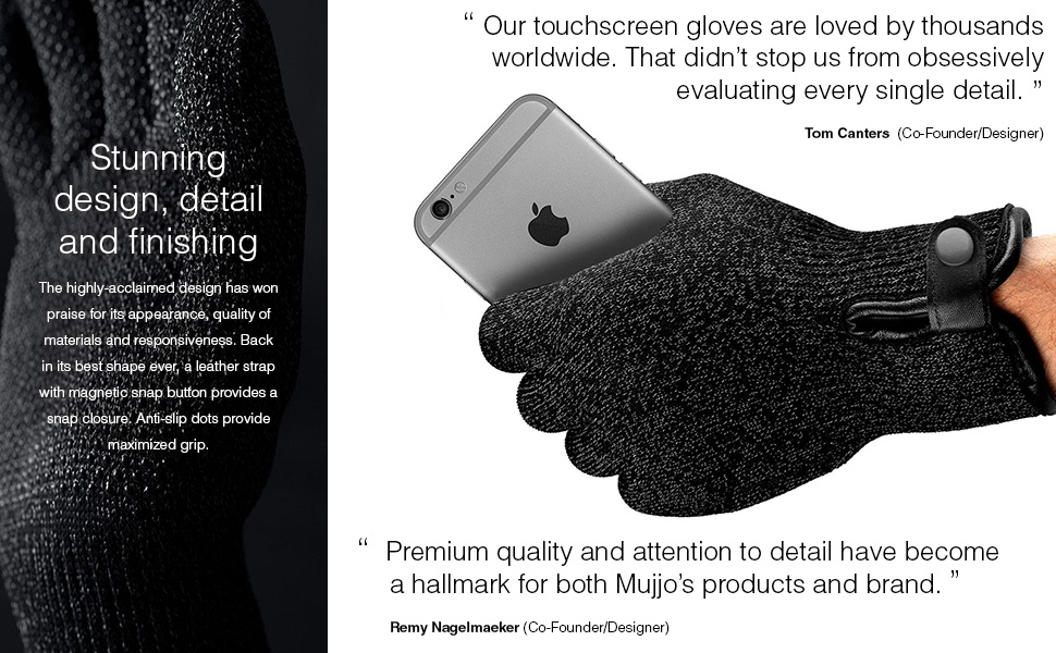 premium selection 84e40 ed5ae Mujjo Double Layered Touchscreen Winter Gloves| Knitted Smartphone Texting  Gloves with Leather Cuffs, Magnetic Snap Closure & Anti-Slip Grip (Small)