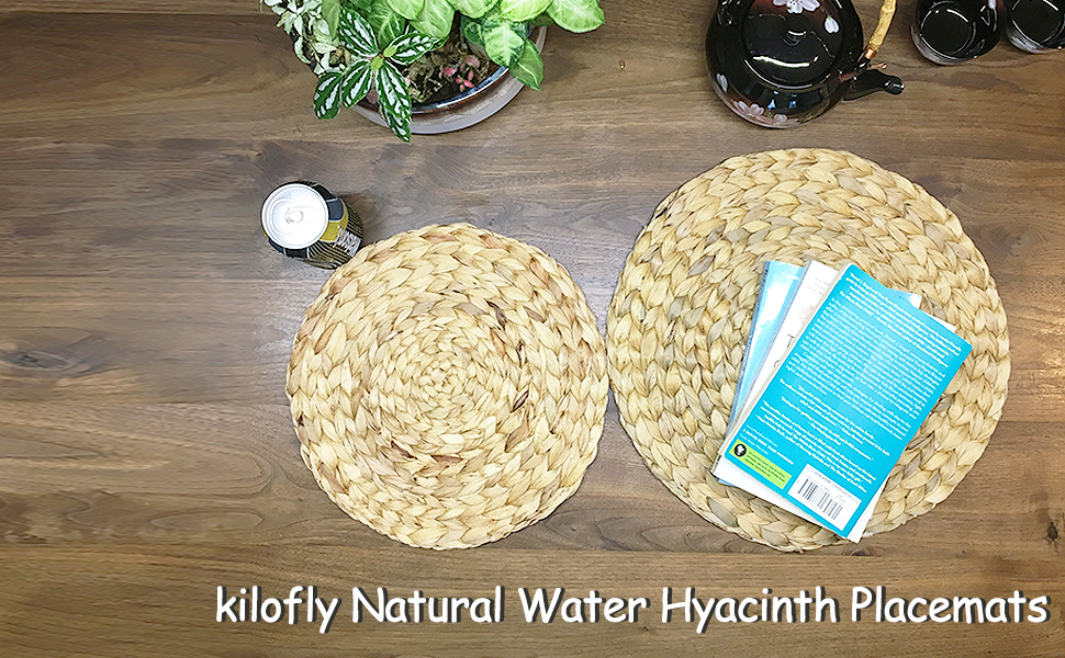 kilofly Natural Water Hyacinth Weave Placemat Round Braided Rattan Tablemats