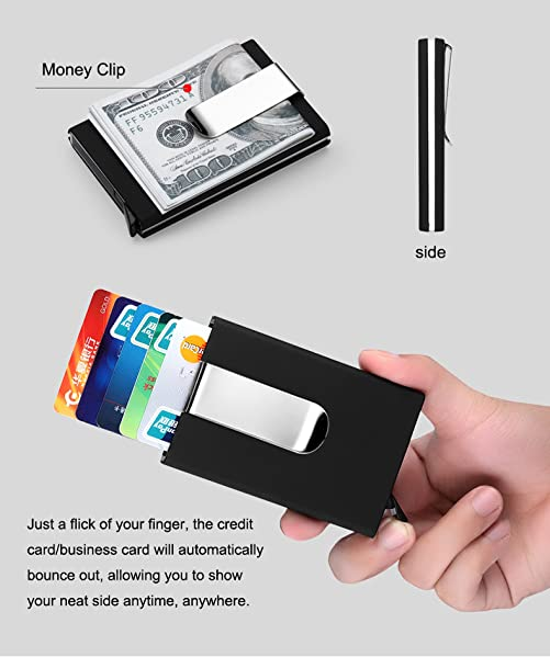 Artmi credit card holder rfid blocking aluminum business card holder artmi credit card holder rfid blocking aluminum business card holder automatic pop up card case black with money clip reheart Choice Image