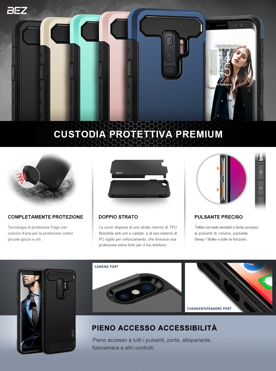 cover samsung s9 plus custodia rigida protettiva by bez