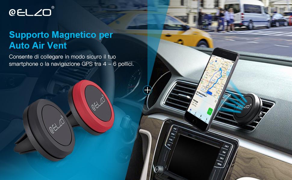 ceeeb58f8625d3 ELZO Supporto Auto Smartphone Magnetico, 2 Pezzi Universale Supporto ...