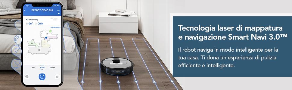 Robot aspirapolvere ECOVACS DEEBOT OZMO920, 2-in-1 Aspira e Lava con tecnologia laser Smart Navi 3.0, Pulizia personalizzata, Mappatura multi piano, Barriere virtuali