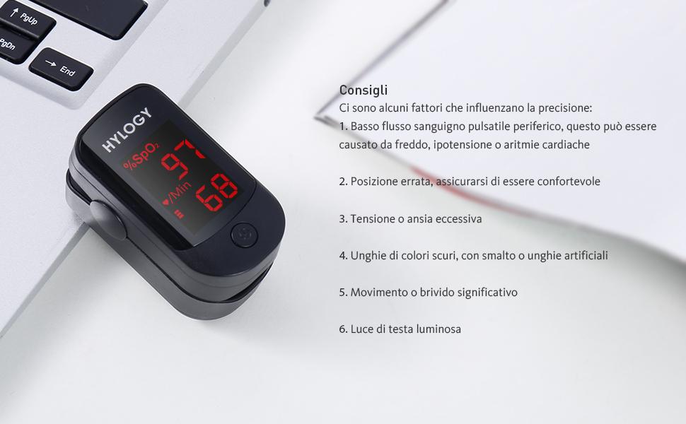 Pulsossimetro,HYLOGY,saturimetro da dito,ossimetro,saturazione ossigeno,muto,Lettura istantanea,Frequenza del Polso(PR) e La Saturazione di Ossigeno(Spo2)