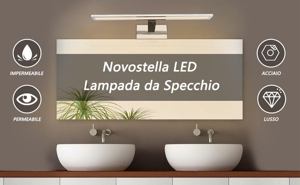 Bonlux specchio per bagno luci led applique da parete impermeabile
