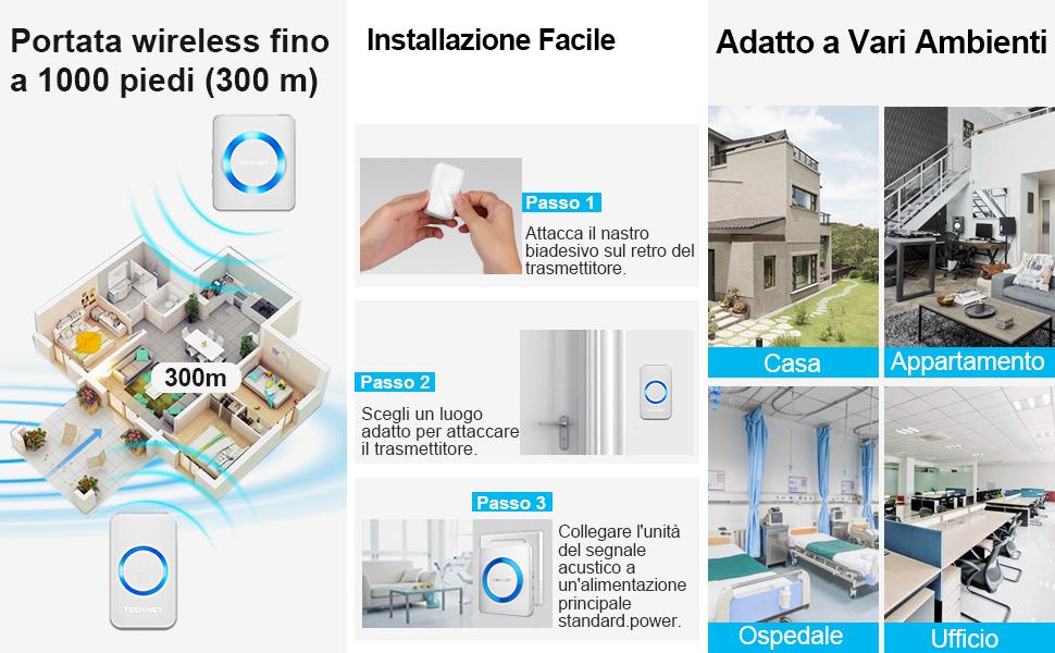 Campanello Wireless Impermeabile