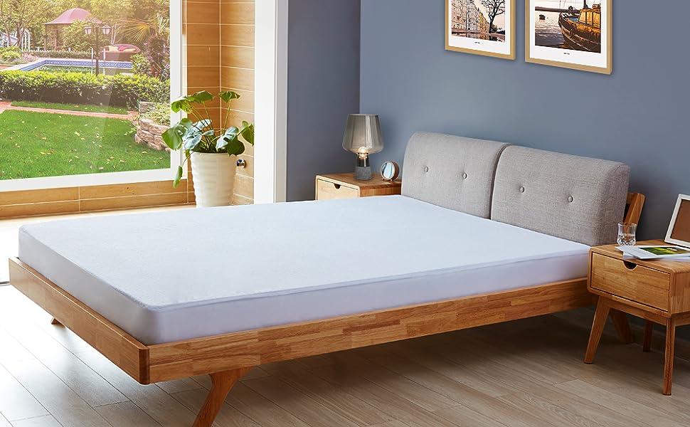 90 x 190//200 cm UMI Essentials 2xCoprimaterasso in Spugna di Cotone Impermeabile e Traspirante