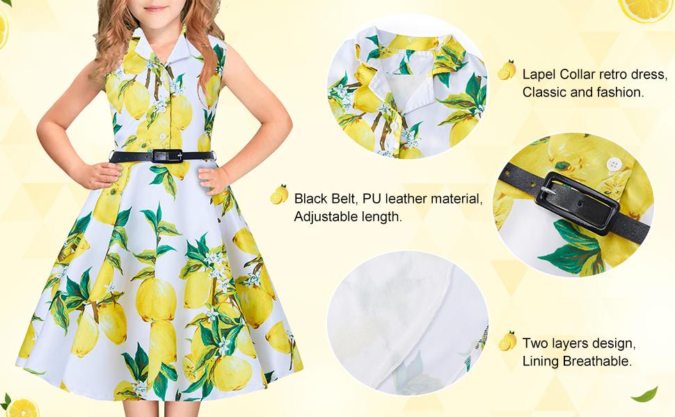 RAISEVERN Vestiti Bimba Elegante Cerimonia con Cintura Sera Rockabilly Abito Retro Cocktail Dress Vestito Floreale
