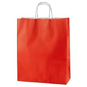 Medi 250x110x310mm 20 Sacchetti di Carta Colorata Riciclabili e Riutilizzabili con Manici Intrecciati Thepaperbagstore Arancione