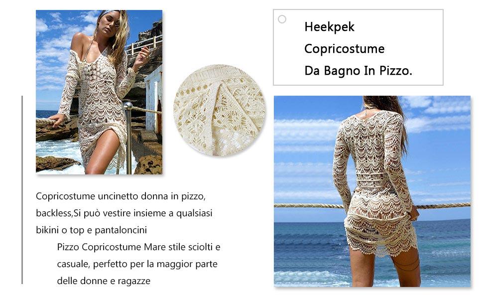 heekpek Copricostume da Bagno in Pizzo Donna Bikini Costumi Uncinetto Cavo Coprire Spiaggia Mini Abito in Estate Abito da Spiaggia