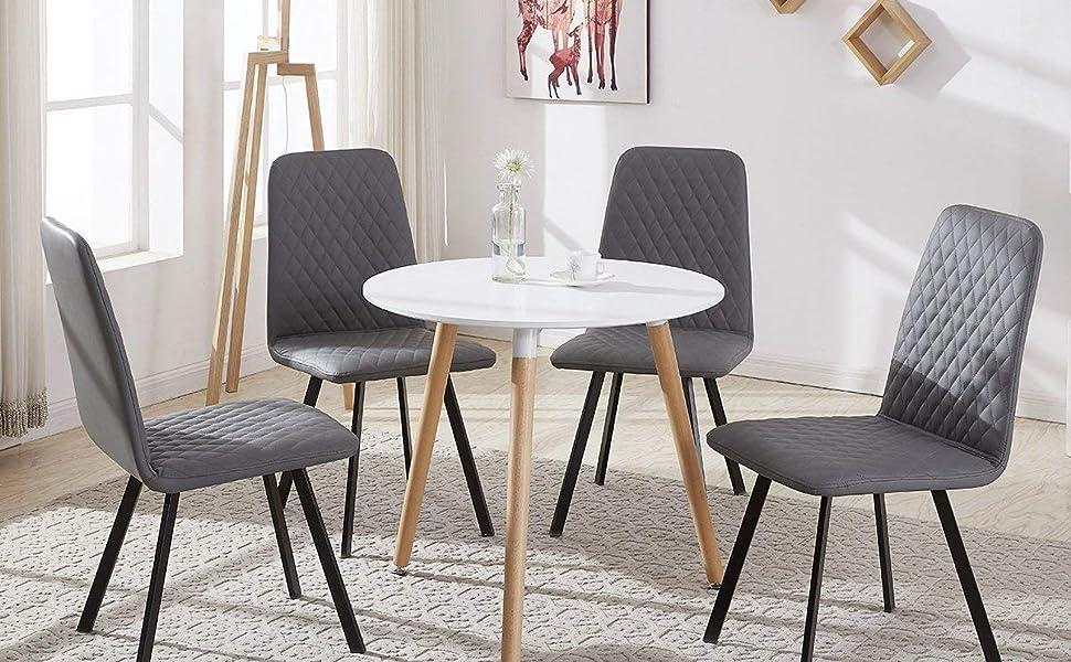 DORAFAIR Tavolo da pranzo rotondo bianco,Tavolino da cucina in stile ...