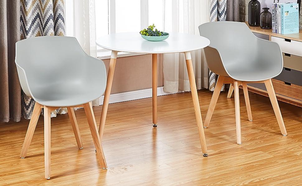 Blanco Poltrona Moderno Design Sedie Cucina Scandinavo DORAFAIR Set di 2 Pranzo//Ufficio Sedia con Gambe in Faggio Massiccio
