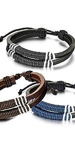 Oidea Bracelet unisexe en cuir Symbole infini Couleur au choix