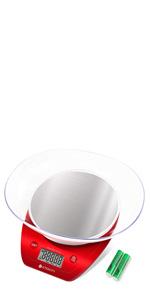 Etekcity Bilancia da Cucina Elettronica in Acciaio Inossidabile 5kg/ 11lb, Ciotola Mescolata, Timer Allarme, Indicatore Temperatura, Display Retroilluminato, Argento