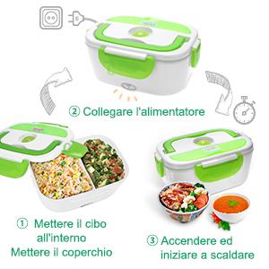 YISSVIC Scaldavivande Portavivande Elettrico Lunch Box Portatile Plastica 1,5L per Casa