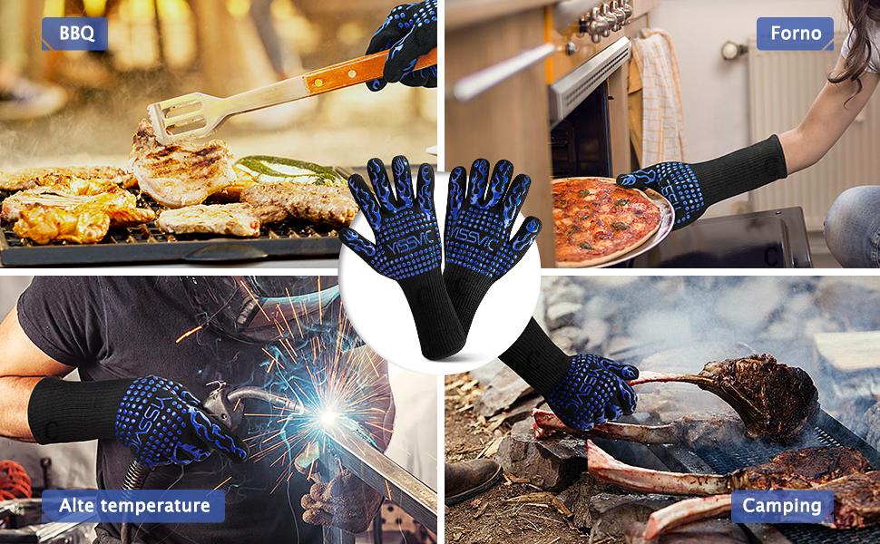 YISSVIC Guanti Barbecue Guanti Forno Resistenti Fino A 800 /°C con Polsino Lungo Guanti BBQ Adatti per Barbecue Forno Cucina Alte Temperature