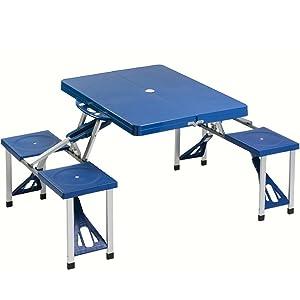 Bakaji set tavolo tavolino pieghevole pic nic campeggio struttura in alluminio con 4 sgabelli - Tavolo pieghevole con maniglia ...