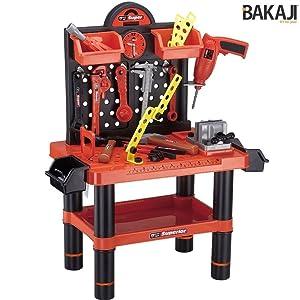 ded3ac1e02 BAKAJI- Banco da Lavoro per Bambini, Attrezzi e Accessori con Trapano, 54  Pezzi, 70 x 51 x 60 cm, Multicolore, 8050534662313