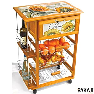 Bakaji carrello cucina in legno con portabottiglie e for Mattonelle da cucina