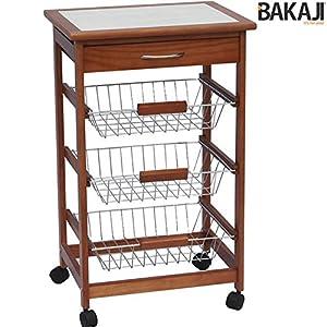 Bakaji carrello cucina in legno con 3 cestelli acciaio e for Top cucina amazon