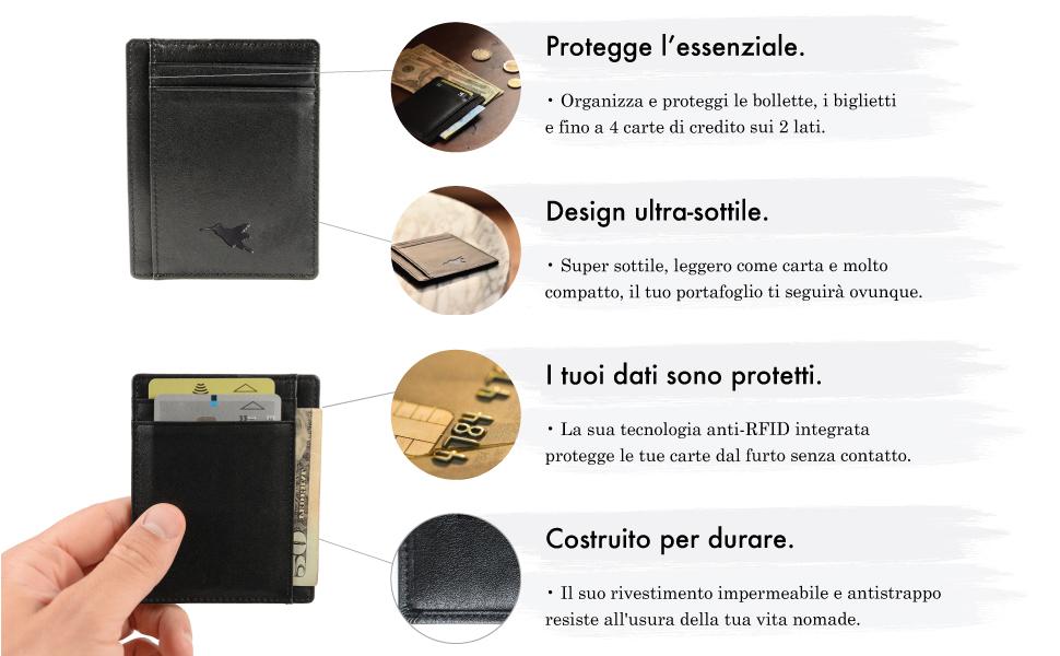 62a94256c9 Porta carte sottile di Nomalite   Portafoglio nero da tasca per ...