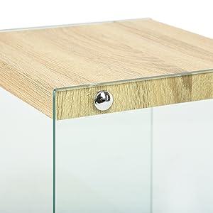 Green Forest Tavolino da Salotto Piccolo con 2 Ripiani e ripiano portaoggetti per Soggiorno Rovere Vetro Trasparente e Comodino in Legno Compatto assemblaggio Facile 35 x 35 x 45 cm