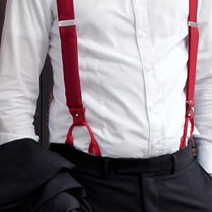 nuovo arrivo dove comprare grande sconto BRUCLE bretelle uomo jeans elastico e pelle doppio uso clip ...