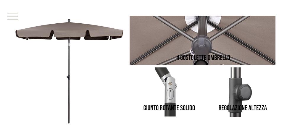 Rosso Rettangolo Sekey/® 200x125cm Parasole Ombrellone Balcone Esterno da Giardino Protezione UV 50
