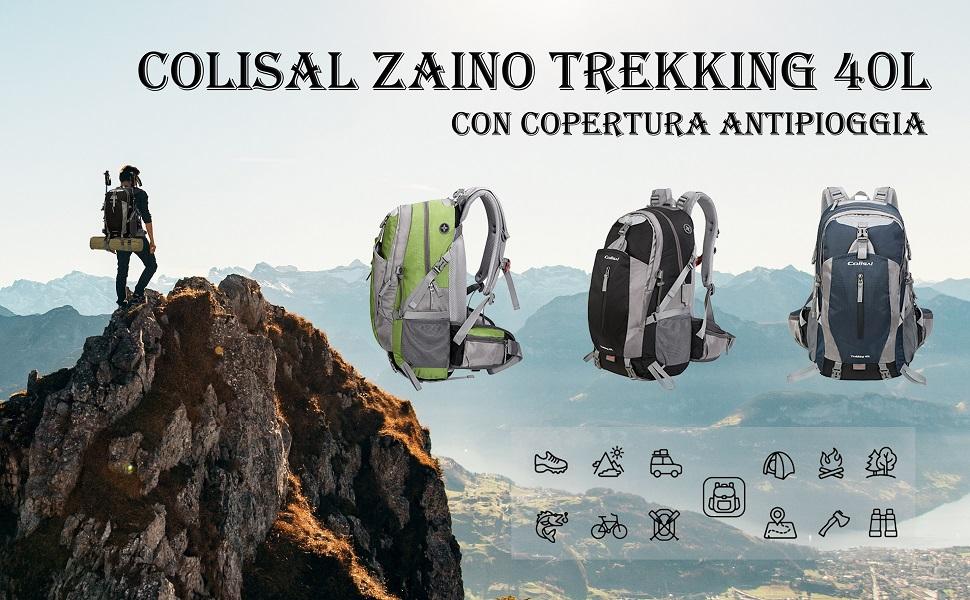 Colisal Zaino Trekking 40L Zaino Montagna Uomo Donna Unisex Zaino da Escursionismo Copri Antipioggia