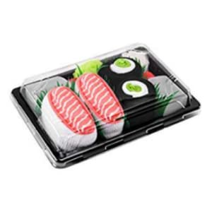 Idea REGALO Divertente Certificato OEKO-TEX 1 paio di CALZINI SUSHI: Nigiri Butterfish Prodotto in Europa 41-46 Sushi Socks Box Dimensioni: EU 36-40 Calze fantasia di COTONE per Donna e Uomo