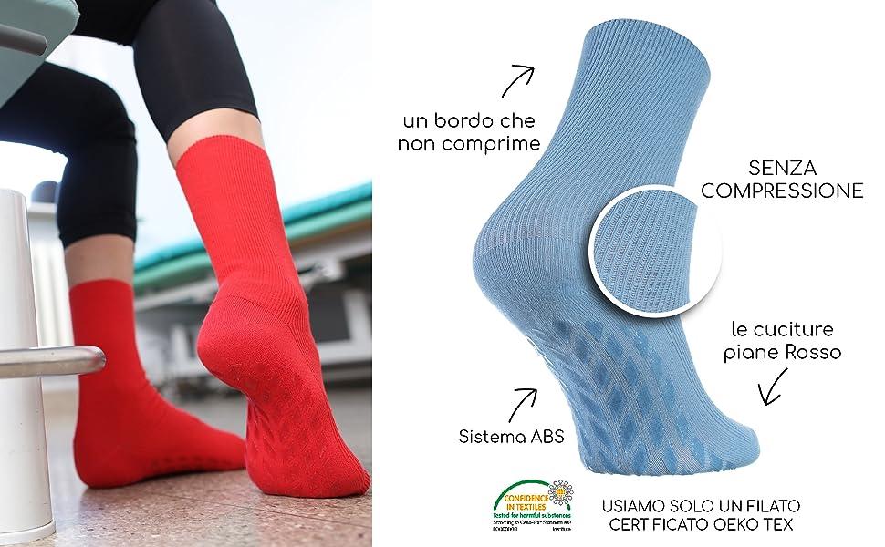 6 paia di calze da donna senza Elastico cotone Uomo diabetici senza cuciture colore marrone