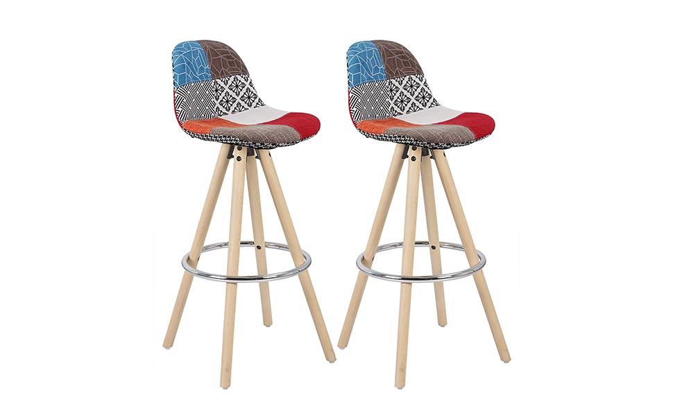 Woltu bh45mf 2 sgabelli da bar sedia cucina con schienale ecopelle