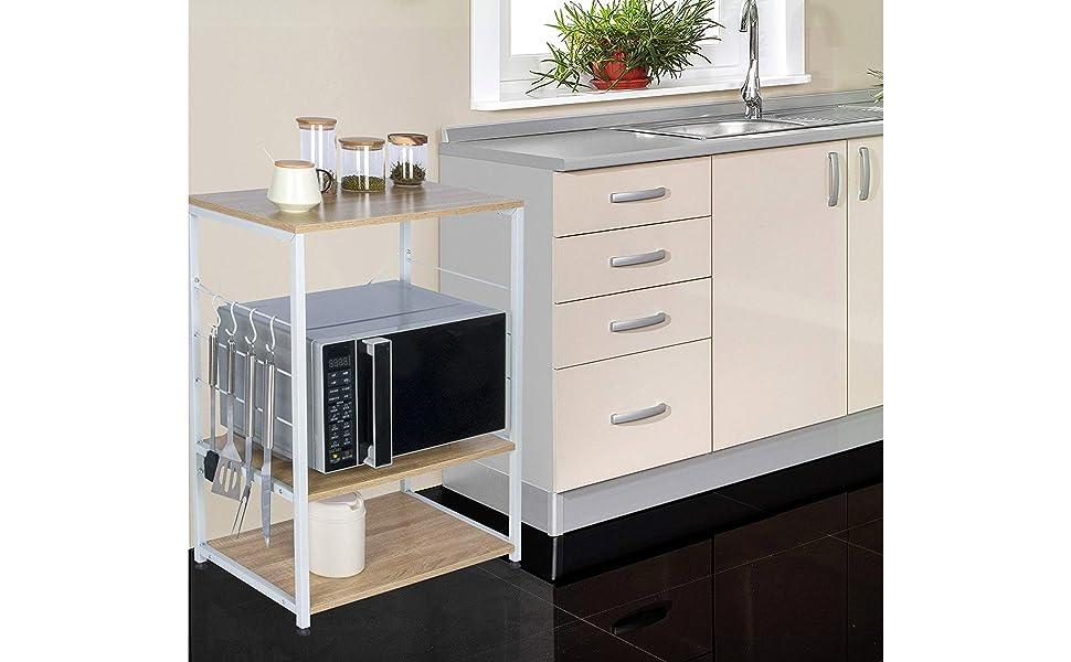 Credenza Per Microonde : Woltu scaffale per cucina in acciaio legno 3 ripiani carrello