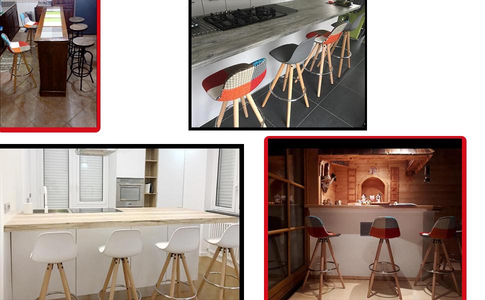 Woltu bh ws sgabelli da bar sedia cucina con schienale plastica