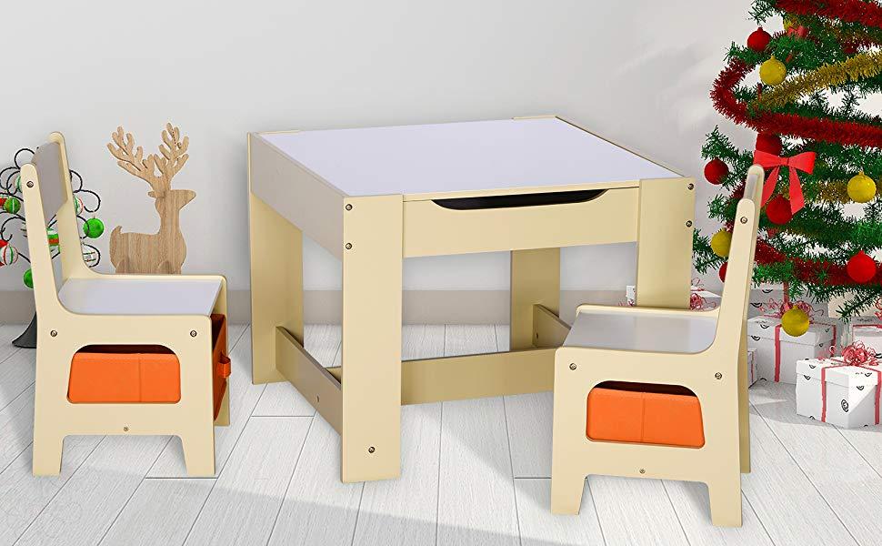 Scrivania Per Bambini 2 Anni : Woltu sg set mobili con lavagna contenitore tavolo e sedie