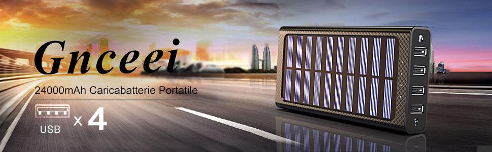 Gnceei Power Bank 24000mAh Caricabatterie Portatile Solare Powerbank, 5.8A 4 Porte USB Batteria Esterna con 3 Porte di Entrata(USB C & Micro USB) e 2 Bright LED per Nexus, HTC e Altro Smartphone …