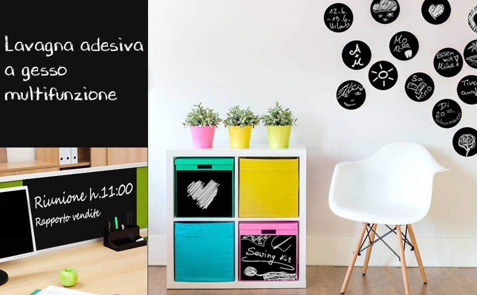 Bianco EVBEA Lavagna Adesiva da Parete Lavagna Rimovibile Per Scuola Ufficio Casa Lavagna Cancellabile 43 x 200 cm