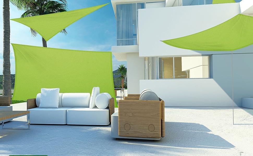 Tende A Vela Per Esterno.Casa Pura Tenda Parasole Esterno Tende A Vela Impermeabili Protezione Anti Uv Vari Colori E Misure Rettangolare 3x5 M Verde