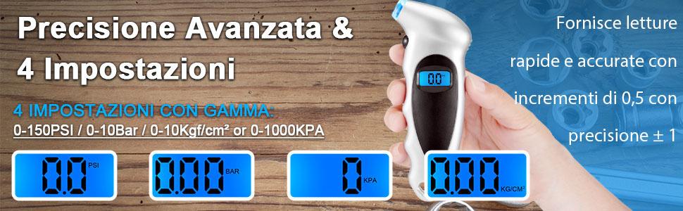Misuratore Pneumatici Professionale con Schermo LCD 10 Bar per Auto Moto Bici AstroAI 2 Pacchi Manometro Pressione Gomme Digitale Portatile