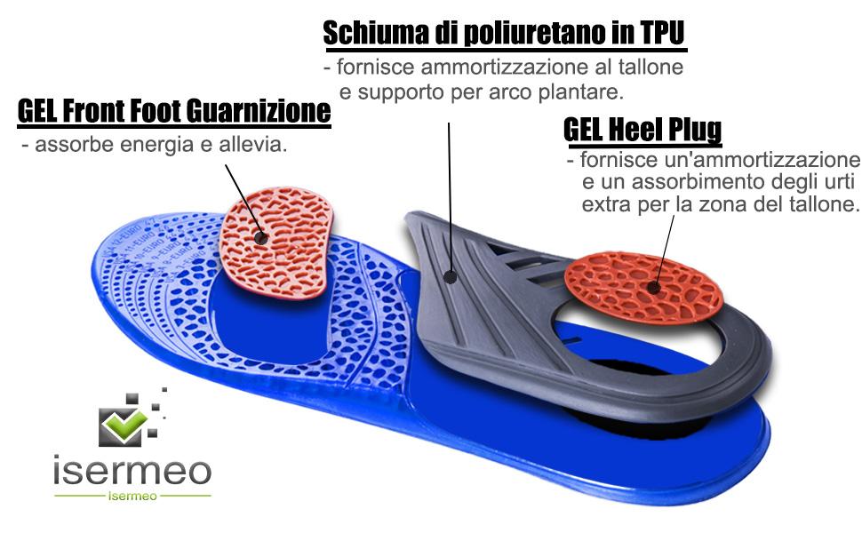isermeo Solette Gel, Solette per Scarpe Silicone Sportive Soffice Antiurto