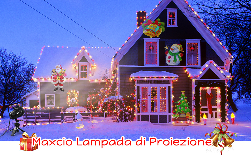 Proiettore Luci Natalizie Visto In Tv.Proiettore Luci Natale Esterno Con 15 Diverse Diapositive Maxcio Decorazioni Luci Natale Con Un Telecomando Proiettore Luci Per Giardino Interno Ed