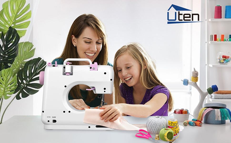 Macchina da Cucire Portatile Mini con Kit da Cucito Leogreen Macchina da Cucire Professionale Cucire Elettrica Manuale per Principianti DIY Bambini con 12 Programmi