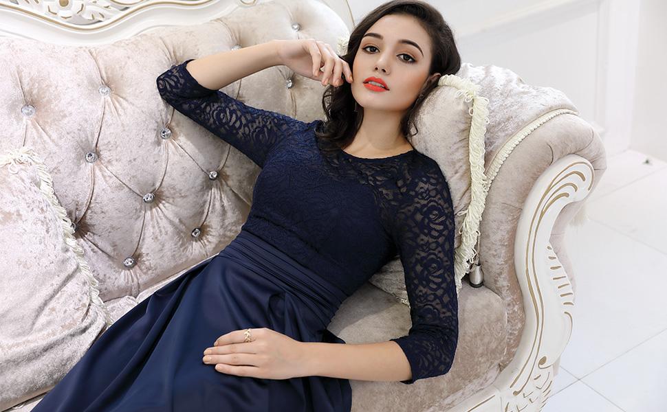 MIUSOL Vintage 1950s Pizzo Coctel Slim Vestito Donna Lunghe Blu ... b7945140c05