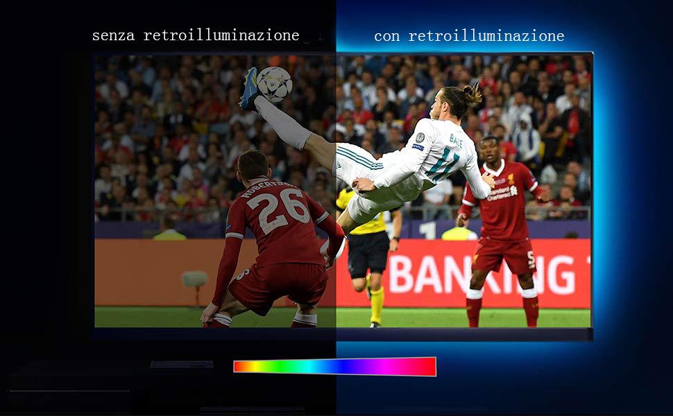 Iregro cm tv led posteriore di illuminazione kit multi color