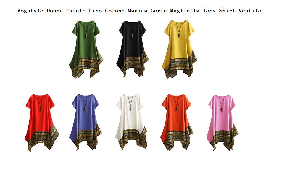 5e0a47a544c3 Colletto rotondo, manica corta, design stampato asimmetrico vintage, stile  etnico trendy.
